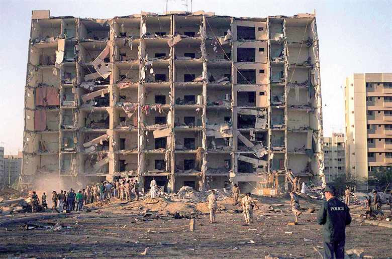 Nineteen Airmen died and hundreds were injured in the terrorist attack June 25, 1996, at Khobar Towers in Dhahran, Saudi Arabia. At the time, it was the worst terrorist attack against the American military since the bombing of a Marine Corps barracks in Beirut, Lebanon, in 1983. (Department of Defense photo)