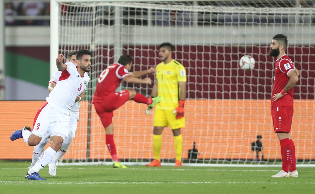 Jordan players celebrating after scoring for the second time against the Syrian team during AFC Asian Cup - 10 January (AFC)