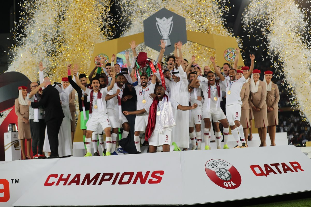 Qatar national football team winning AFC Asian Cup in UAE - 1 February 2019 (AFC)*