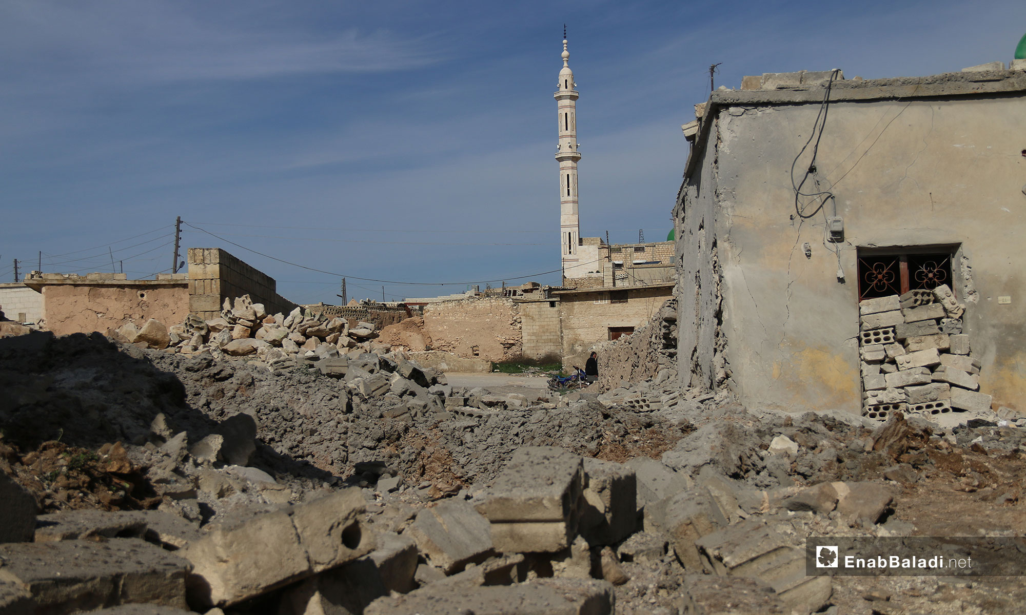 The destruction caused by the shelling of the town of al-Tah, rural Idlib – February 4, 2019 (Enab Baladi)