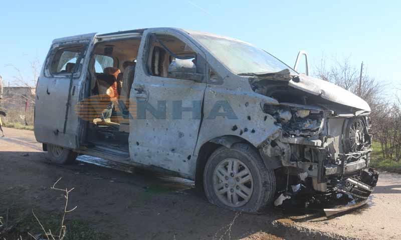A van car, transporting teachers, blown up by a mine in southern Manbij city – February 2, 2019 (Hawar News Agency)
