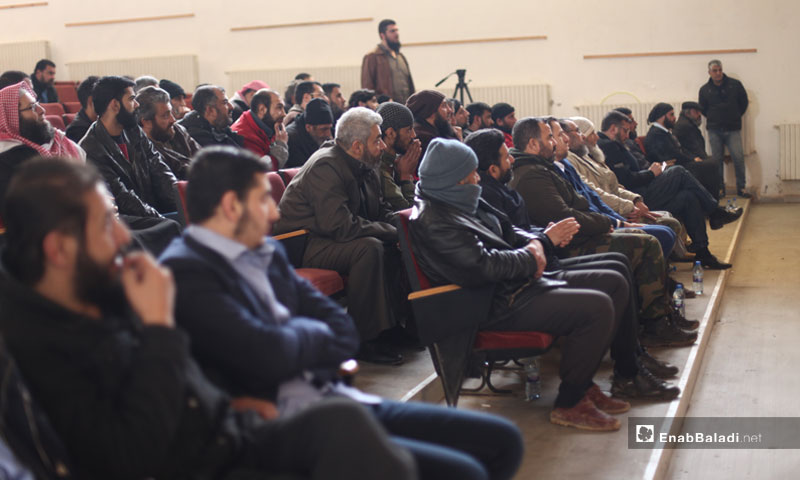 People attending the First Founding Conference of the Deir ez-Zor Internally Displaced Persons Committee – February 18, 2019 (Enab Baladi)
