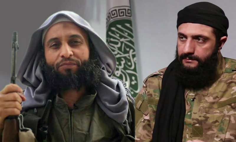 Photo of the leader of Hayat Tahrir al-Sham Abu Mohammad al-Julani and the group's former leader Abu al-Yaqzan (edited by Enab Baladi)
