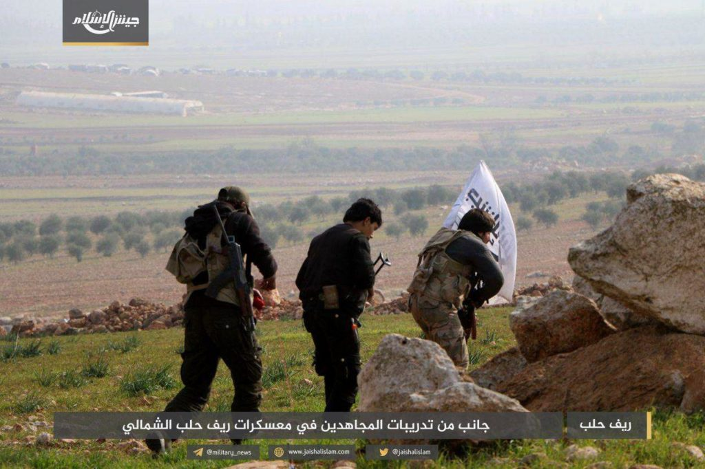 Combatants of Jaysh al-Islam faction during a training camp in the countryside of Aleppo - January 2019 (Jaysh al-Islam)