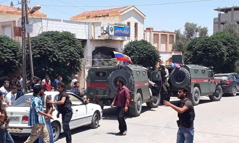 The Russian police after it entered the town of Tafas, western rural Daraa -July 11, 2018 (Facebook)