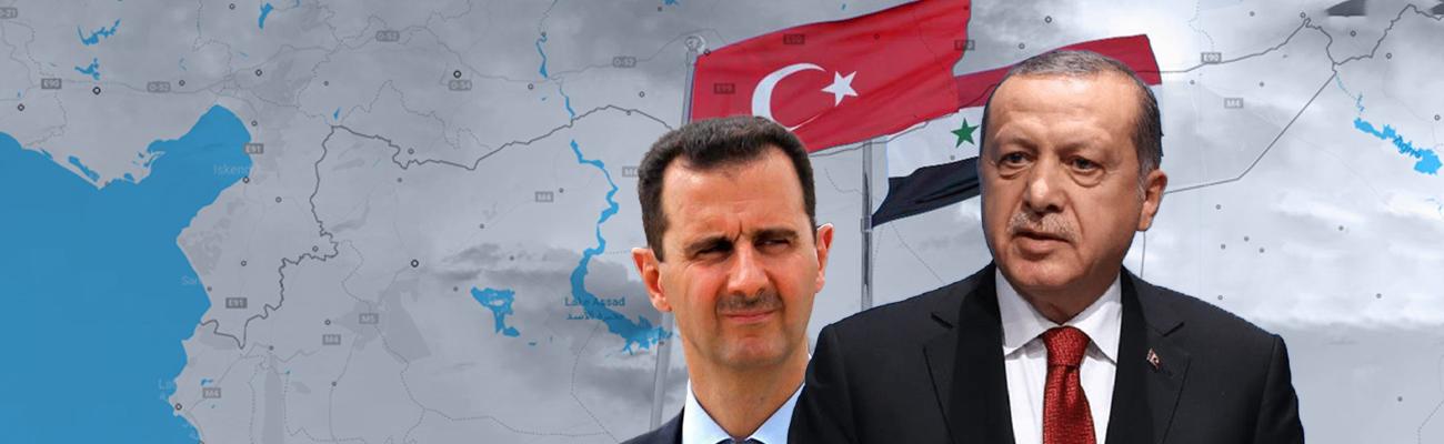 Expressive photo of Turkish President Recep Tayyip Erdogan and Syrian President Bashar al-Assad (modified by Enab Baladi)
