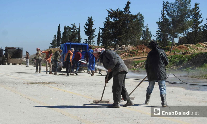 Preparations at the Abu al-Zendain crossing, which connects rural Aleppo with the areas controlled by the Syrian regime – March 18, 2019 (Enab Baladi)