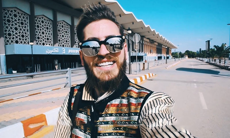 Youtube Andrawos Bassous in front of Damascus International Airport - 2018 ( Bassous's YouTube channel)