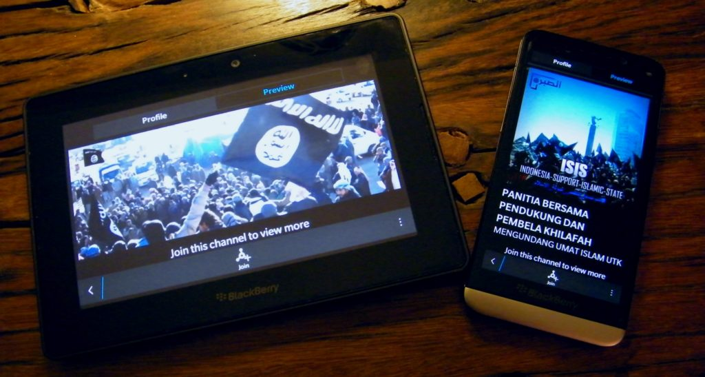 A tablet playing a video about ISIS (expressive from the Internet)