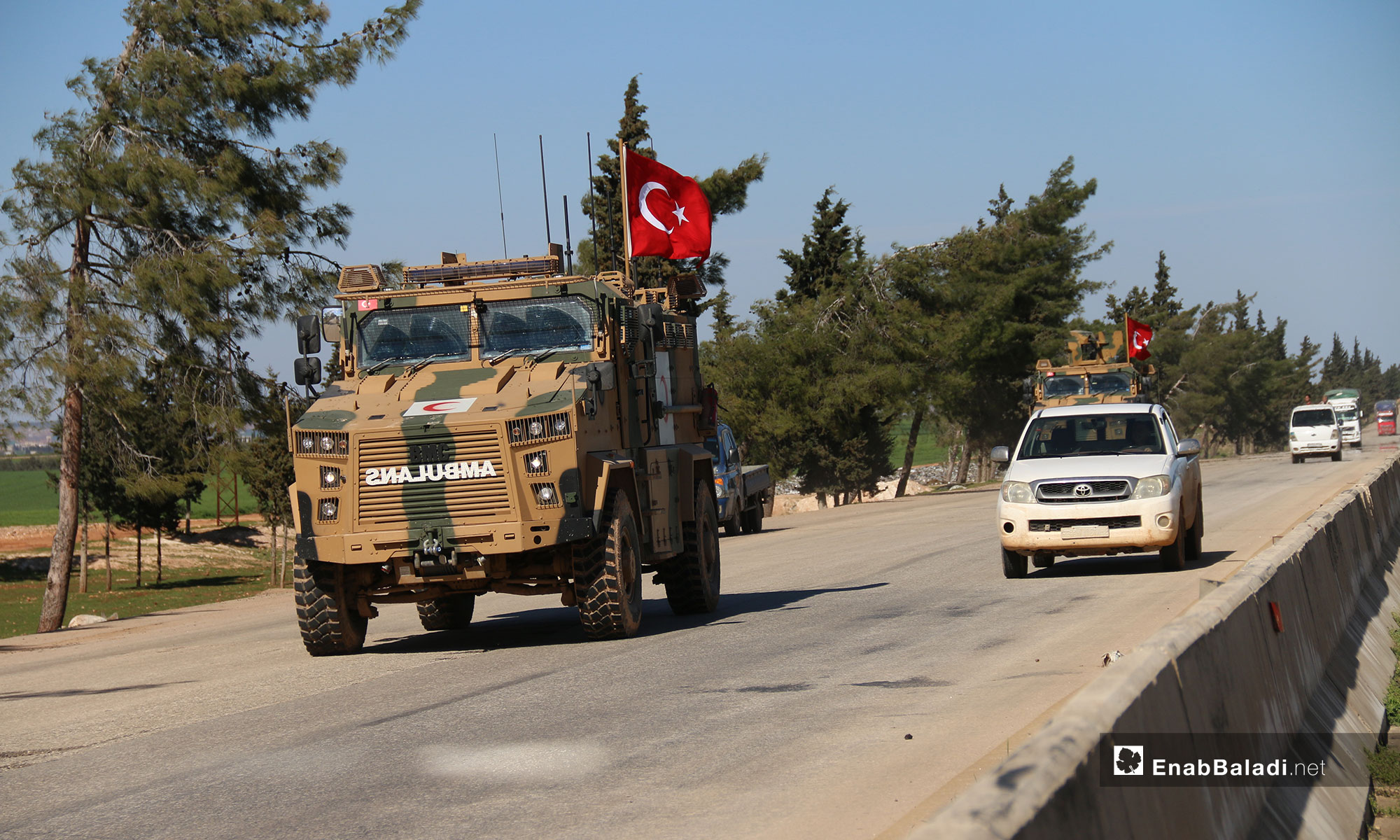 A Turkish patrol's passage through Idlib governorate, hours after it entered the demilitarized zone under a Russian deal – March 8, 2019 (Enab Baladi)