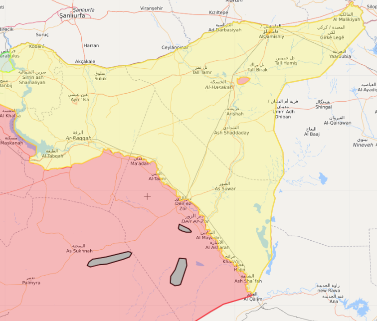 A map showing IS' enclaves in areas in the west of the Euphrates, Syria – March 24, 2019 (Livemap)