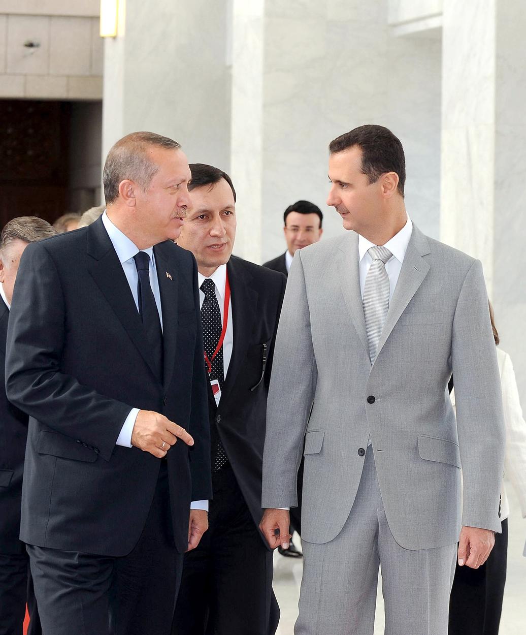 Turkish President Recep Tayyip Erdogan and Syrian President Bashar al-Assad during Erdogan's visit to Damascus in 2010 (KUNA)