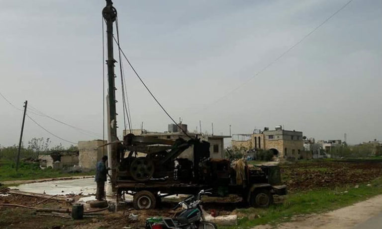 Artesian wells drilling rig in Kafr Nabl - February 2019 (The Local Council of Kafr Nabl city)