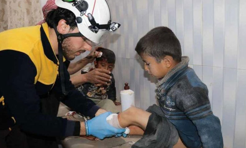 People injured in an aerial attack on a camp in the east of the city of Saraqib, eastern rural Idlib – March 13, 2019 (The Syrian Civil Defense)