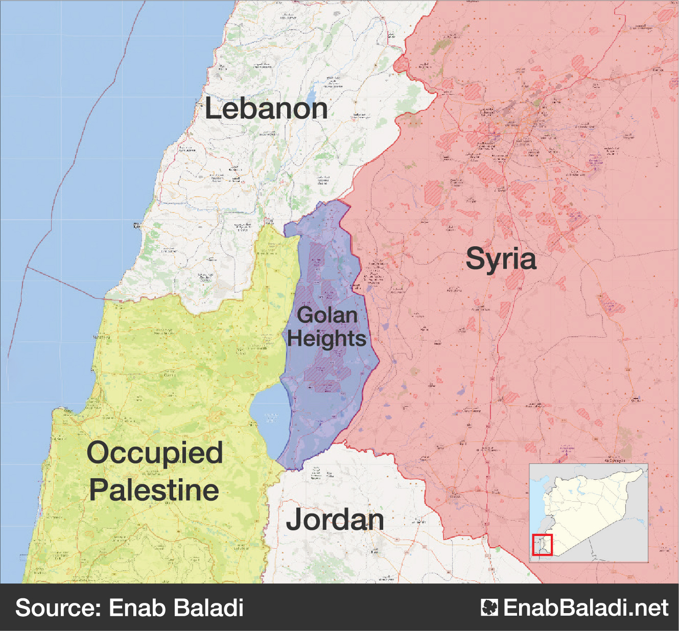 Map showing the location of the Golan Heights (modification by Enab Baladi)