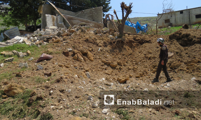 The destruction caused by the Russian aircraft attacks on the Hawash village in northern rural Hama – April 28, 2019 (Enab Baladi)