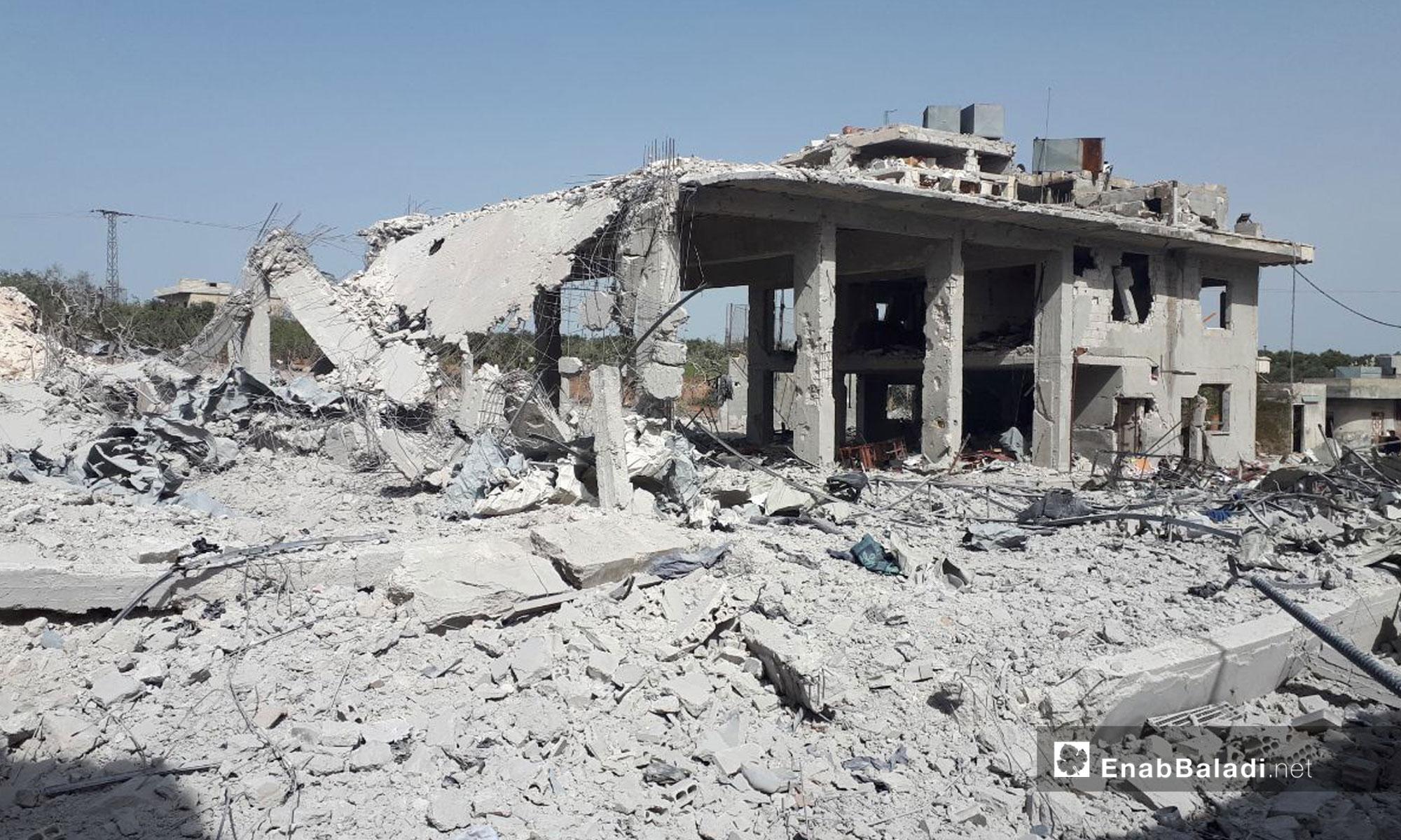 Destruction Caused by Russian Aerial Shelling in the village Urum al-Jawz, Southern rural Idlib, April 14, 2019 (Enab Baladi)