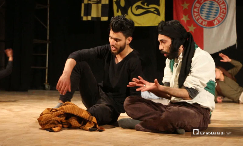 """A scene from """"The Circuit Breaker Tripped"""" at Idlib City Cultural Center – April 25, 2019 (Enab Baladi)"""