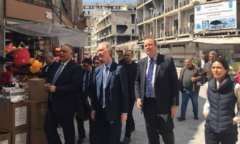 The UN Special Envoy for Syria Geir Pedersen on a visit to Homs – March 19, 2019 (The envoy's Twitter account)