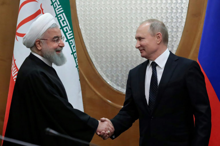 Presidents Putin and Rouhani during Sochi meeting - February 2019 (AP)