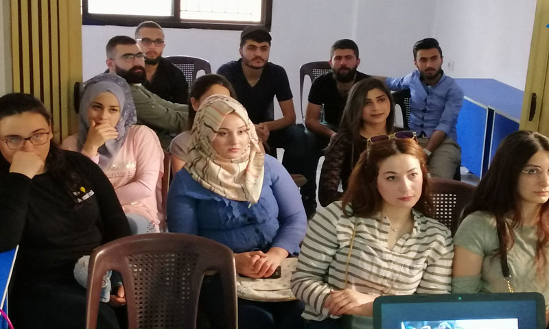 """A group of young men and women within the framework of the """"Rainbow"""" project at the PÊL Center in Al-Hasakah- 18 May 2019 (PÊL page on Facebook)"""