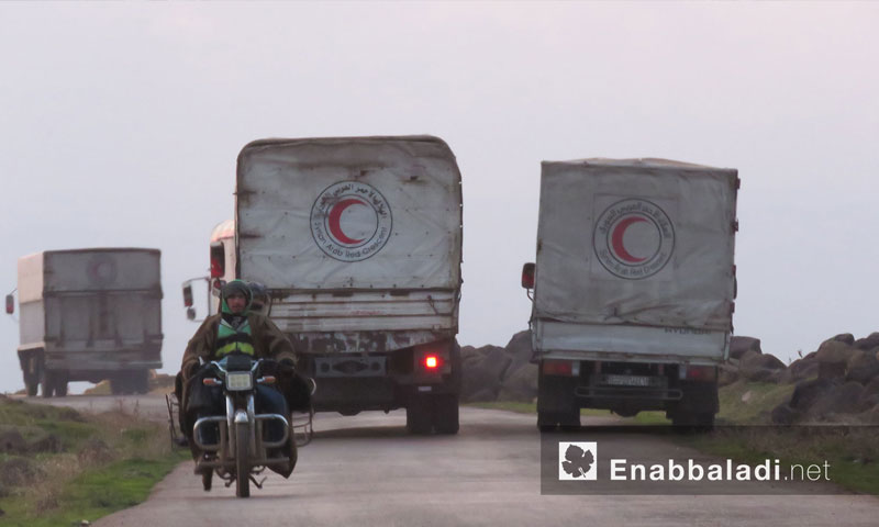 The entry of a UN aid convoy to the area of Houla and areas of southern Hama countryside - 14 December 2017 (Enab Baladi)
