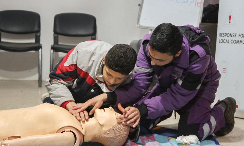 Paramedic training in northern Syria, on 4 April 2019 (Violet Organization)