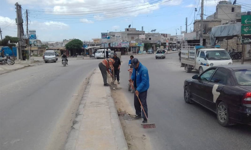 A campaign to clean the streets in the city of Atarib - 14 May 2019 (Atarib Local Council Facebook page)