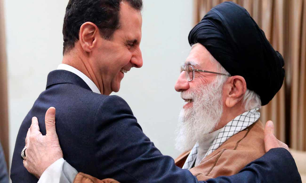 President of the Syrian regime Bashar al-Assad hugging the Supreme Leader of Iran in Tehran - 2019 (Khamenei's office)