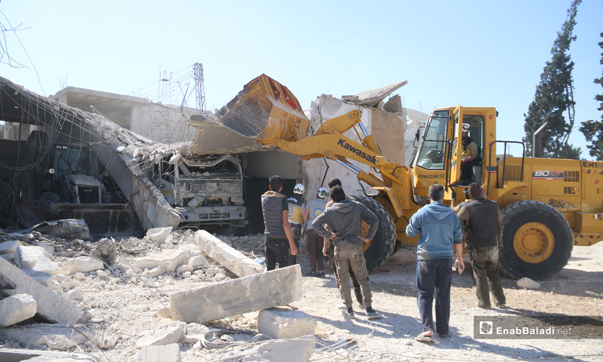 Destruction that befell the Civil Defense Center at the city of Kafr Nabl  - May 13, 2019 (Enab Baladi)