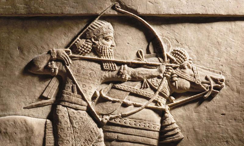 A sculpture of Ashurbanipal - Assyrian Emperor (668 BC - 627 BC) lion hunting (British Museum)