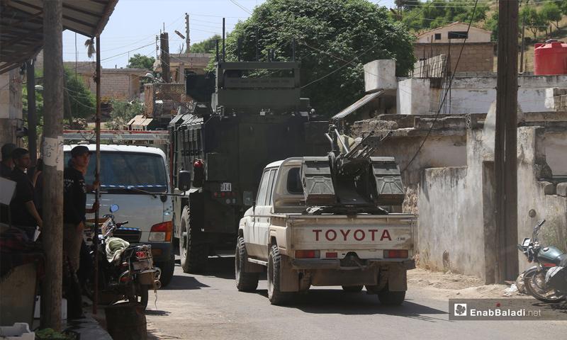 A Turkish military convoy enters rural Idlib, heading towards the al-Ghab Plain in rural Hama – May 17, 2019 (Enab Baladi)