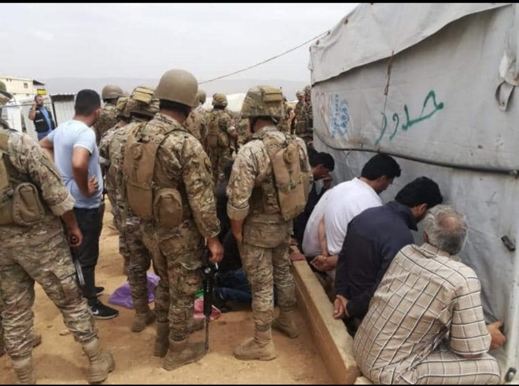 Refugees in Deir el Ahmar Camp in Lebanon during their arrest by the Lebanese army June 5, 2019 (activist Abu al-Huda al-Homsi)
