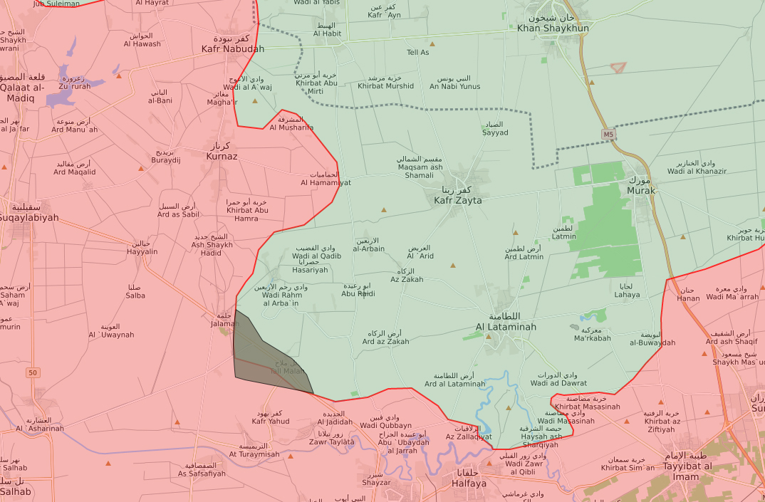 The distribution of territorial control in northern rural Hama -June 20, 2019 (Livemap)