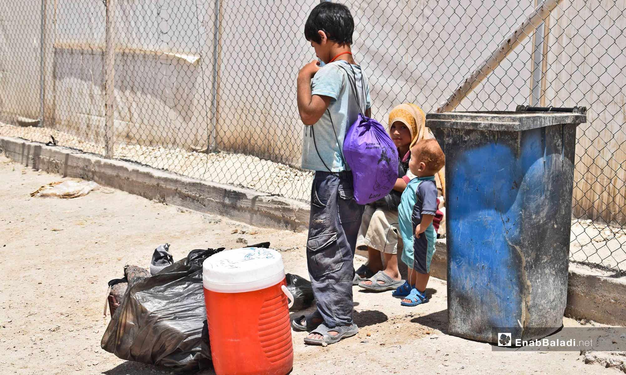 Children in the al-Hawl Camp in rural al-Hasakah, east of the Euphrates – June 25, 2019 (Enab Baladi)