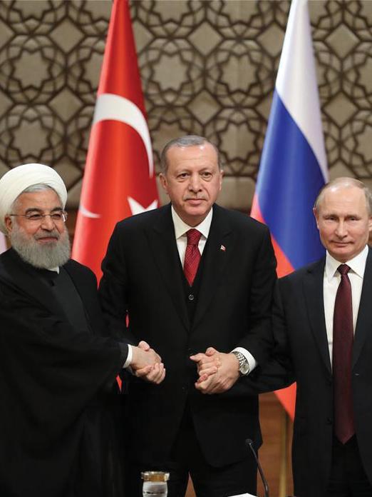 Russian President Vladimir Putin, Turkey's Recep Tayyip Erdogan and Iran's Hassan Rouhani at the Sochi Summit – November 22, 2019 (Anadolu Agency)