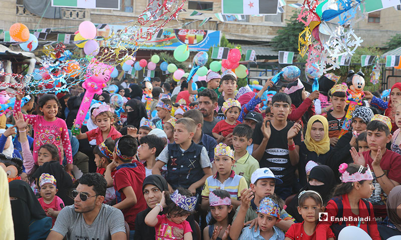 A celebration of Eid al-Fitr for the displaced children in Afrin, rural Aleppo – June 6, 2019 (Enab Baladi)