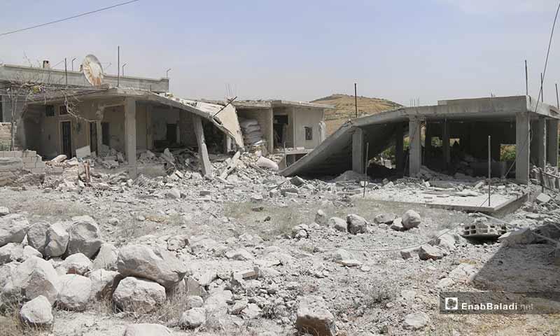 Destruction at the Kafar Aweed village caused by air strikes, rural Idlib – May 31, 2019 (Enab Baladi)