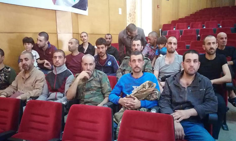 People from Daraa who were released from Syrian regime prisons after years-long imprisonment. May 30, 2019 (Daraa Today)