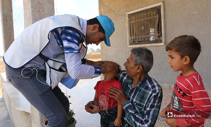 Oral poliovirus vaccines for children in Akhtarin, rural Aleppo – 16 July, 2019 (Enab Baladi)