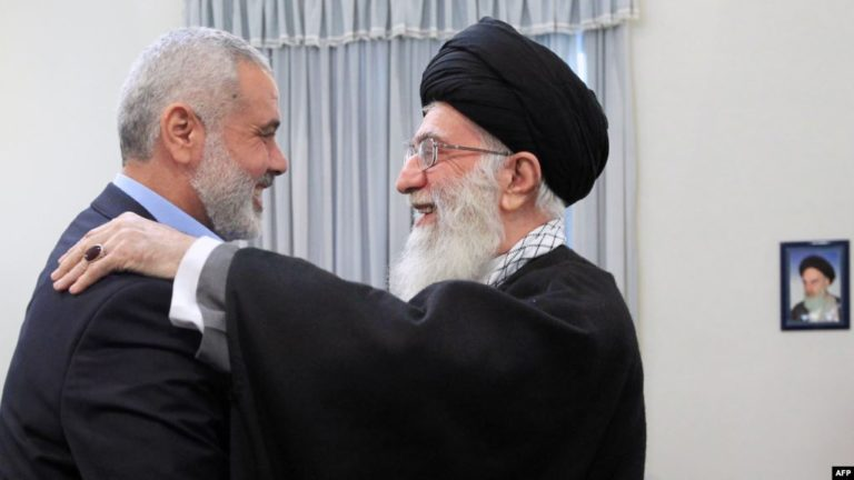 The Head of Hamas Political Bureau, Ismail Haniyeh together with the Supreme leader of the Islamic Revolution - (AFP)