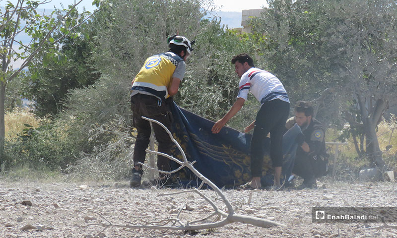 Civilians hospitalized in the aftermath of aerial shelling of Maar Tahroma town, southern Idlib – July 10, 2019 (Enab Baladi)