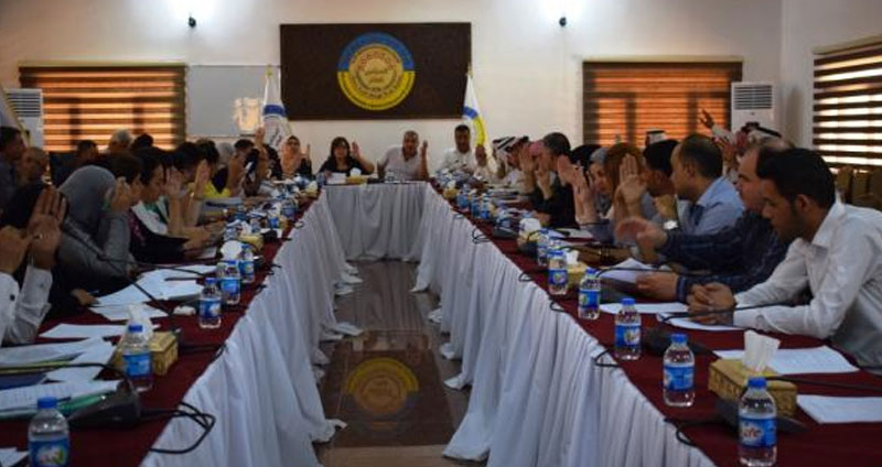 The General Council of the Autonomous Administration of northern and eastern Syria voting on the Customs Law – July 25, 2019 (Hawar News Agency)