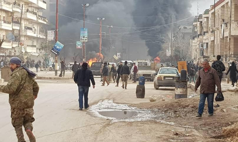 The detonation of an improvised explosive device in the al-Villat Street, Afrin – February 21, 2019 (Activists on Facebook)