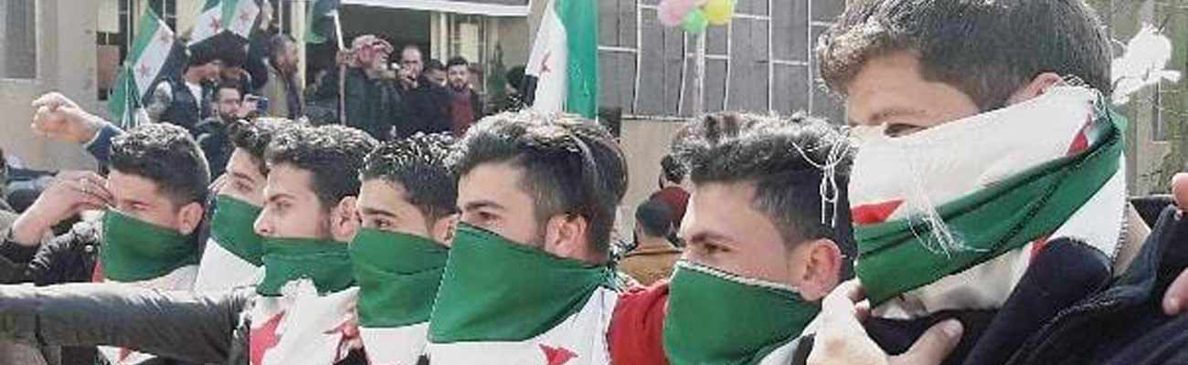 Students of Free Aleppo University demonstrating at the university campus - 18 March 2019 (Free Aleppo University Facebook page)