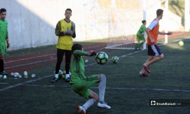 """Meqdad Al-Abdullah, playing as a goalkeeper at """" al Hadaf"""" Academy in Istanbul (Enab Baladi)"""