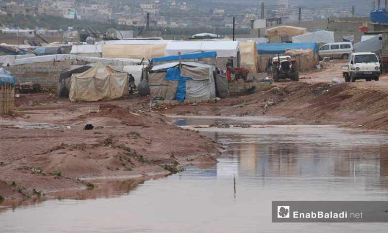 Tents of IDPs flooded by violent rain torrents in northern Idlib- March 31, 2019 (Enab Baladi)
