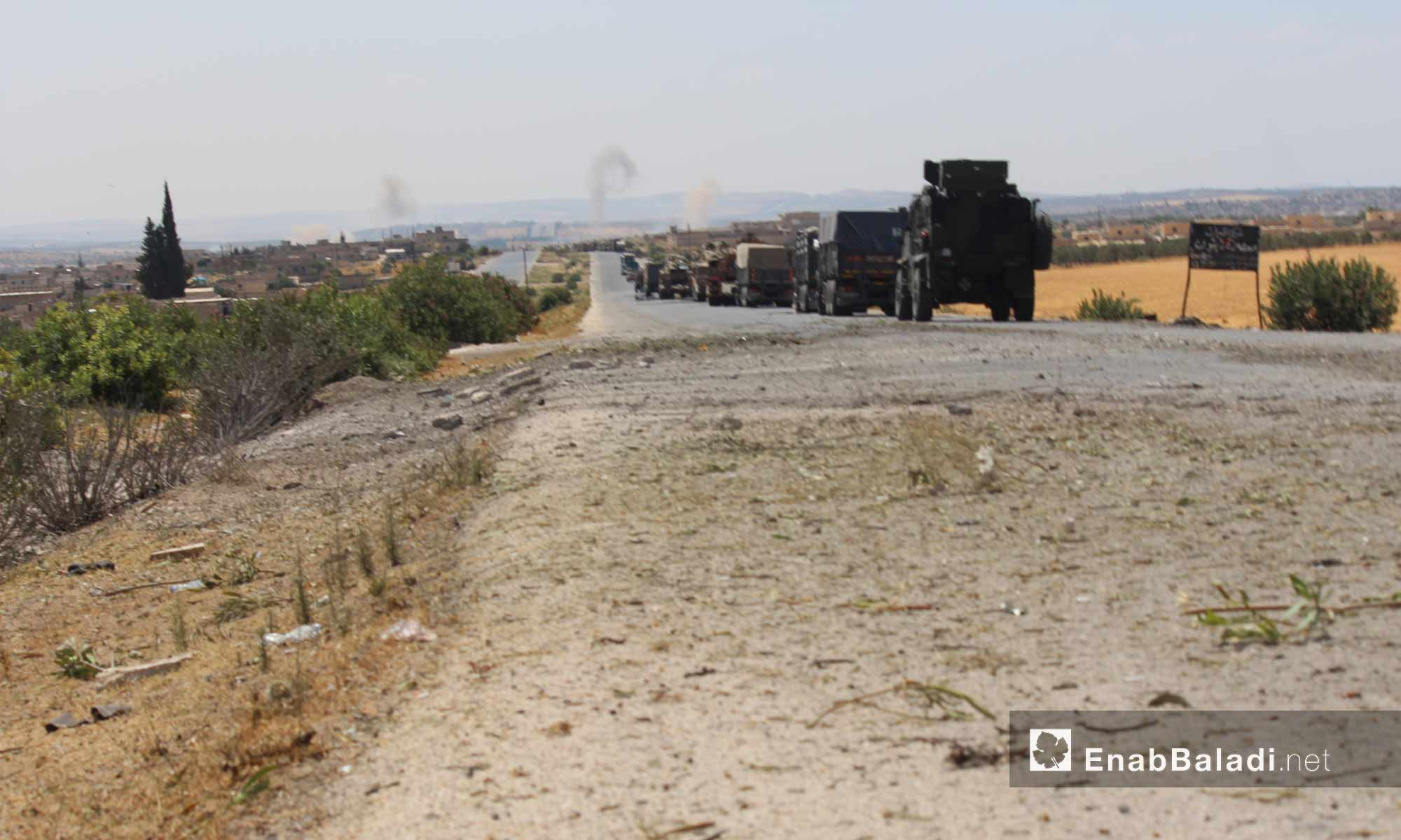 Turkish military convoy stuck near the Maer Hatat village, south of Ma`arat al-Nu`man in Idlib province, after being targeted by the Syrian regime's forces – August 19, 2019 (Enab Baladi)