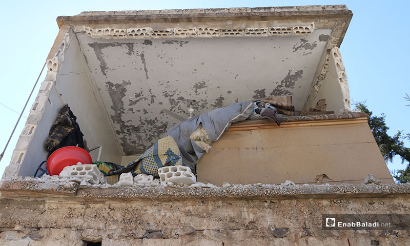 Destruction inflicted upon the town of Kafar Aweed, southern Idlib, by the Syrian-Russian warplanes – August 26, 2019 (Enab Baladi)