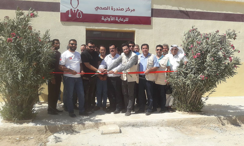 The healthcare center in Sandara town in Akhtarin district, northern rural Aleppo, during its inauguration by the local council – August 7, 2019 (Sandara Local Council's Facebook page)